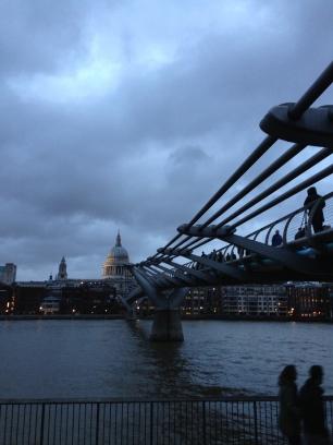 Evening falling. St Paul's Cathedral & Millennium Bridge. Jan. 2014 Photo: ©SLOWAHOLIC