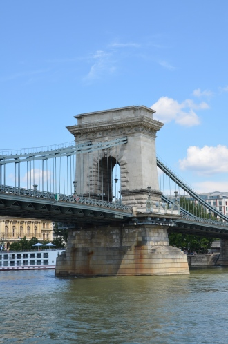The Chain Bridge. (the first permanent bridge between Pest and Buda) and the second permanent bridge on the full length of the Danube River. Budapest, Hungary. July 2014. Photo: ©Slowaholic