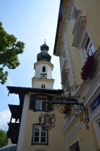Church tower. Sankt Gilgen, Austria. July, 2014. Photo: ©SLOWAHOLIC