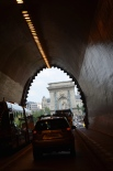 Through the tunnel towards the Chain Bridge. Budapest. Hungary. Tuk Tuk ride. July 2014 Photo: ©Slowaholic