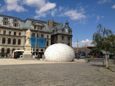 """Feed me"", installation by artists Noper & Sainte Machine. University Square, Bucharest, Romania. September 28th, 2014."