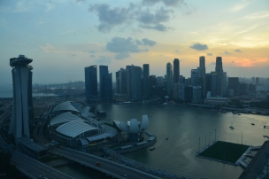 Marina Bay Sands and lotus-shaped Art Museum. Singapore. Feb. 2014. Photo: ©Slowaholic